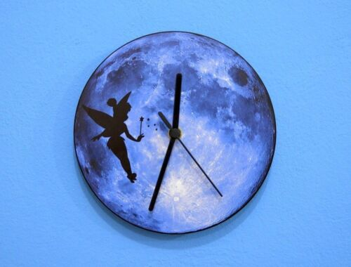 Tinkerbell Silhouette On Moon - Wall Clock