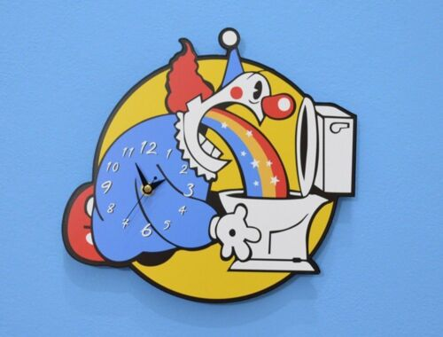 Clown Throwing Up Rainbow - Wall Clock