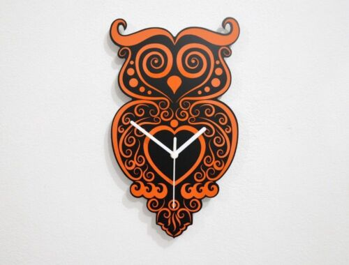 Orange Owl Tribal - Wall Clock