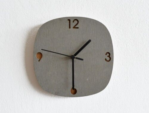 Concrete and Wood Wall Clock - Modern Wall Clock