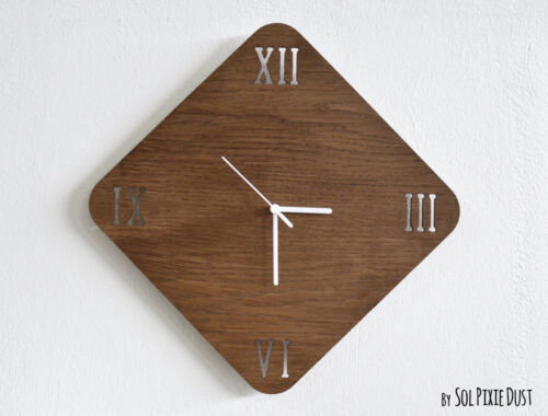 Wooden Rhombus With Latin Numbers - Wooden Wall Clock
