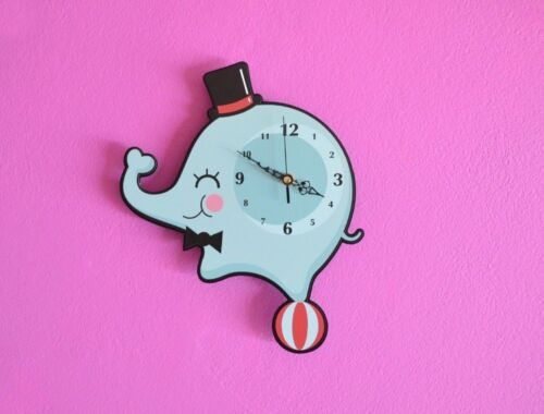 Little Circus Elephant Cartoon Wall Clock