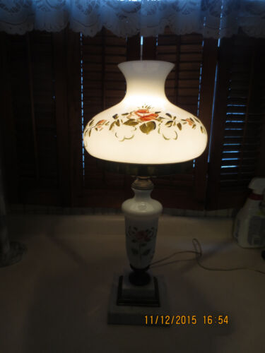 Antique Hand Painted Parlor GWTW Lamp w/ Heavy Tiered Marble Base