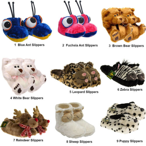 Kids Ladies Womens Novelty Faux Fur Fluffy Winter Warm Animal Slippers Shoes