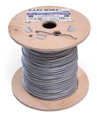 50m x 4mm thick wire reel of mild steel straining line wire galvanised fencing