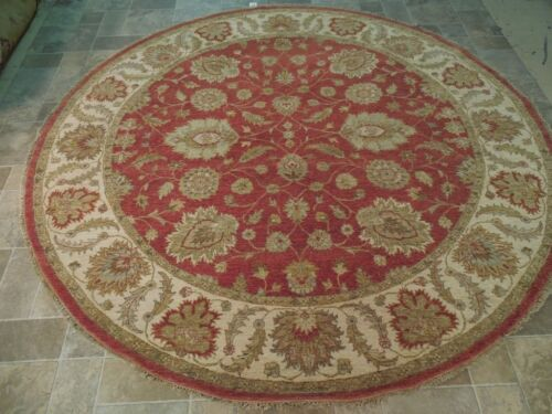 Rust Red Elegant Oriental design Handmade Round Rug 8x8 Chobi Vegetable Dyed Rug
