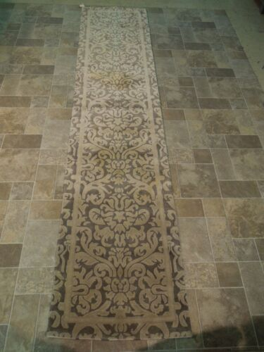 SOFT Gray New Runner Quality Rug 2' 6'' x 12' Hand Knotted Modern Floral Rug