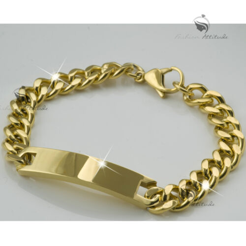 Stainless Steel Curb Chain ID Bracelet Name Tag Engravable Yellow Gold