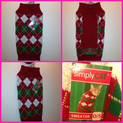 Simply Cat Warm Sweater red, white green Persian Himalayan size 0 / S