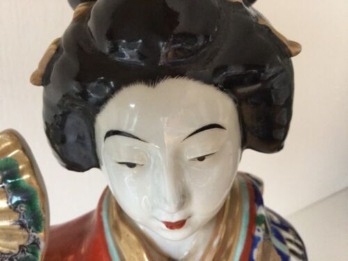 "Antique Tall 19"" Japanese Woman Geisha Meiji Porcelain Bijin Okimono Imari"