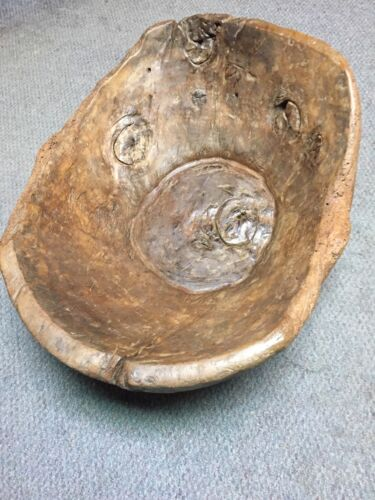 Early Primitive Large Wood Dough Bowl Trencher /Heavy Burls~Handcarved ~PR208