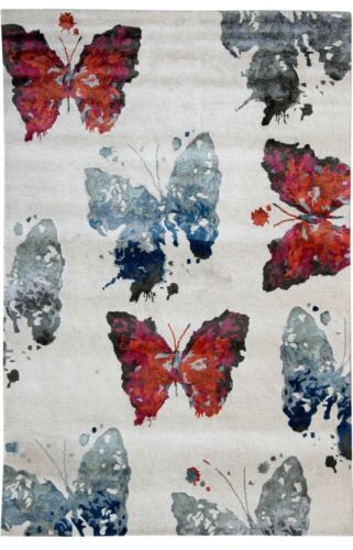 Butterfly Contemporary Rug Hand Tufted Cream Rugs 7x10 ft Modern Carpet
