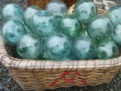 "Japanese Glass Fishing FLOATS 4-4.5"" LOT-5 Round RARE SIZE Buoy Balls Authentic!"
