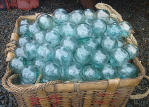 "Japanese Glass Fishing FLOATS 2"" LOT-15 Round Seal Button Balls Authentic Vntg"