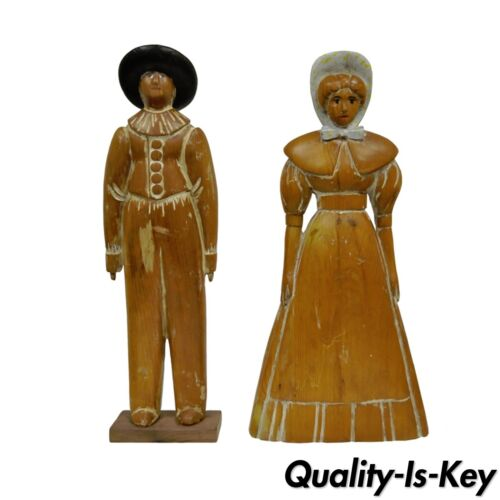 "22"" Pine Hand Carved Quaker Girl & Guy Couple Huffman Koos Statue Figurine Vtg"