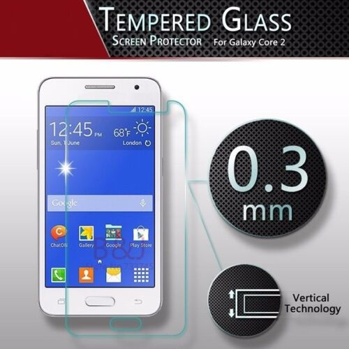 2 x 100% Genuine Tempered Glass 9H Screen Protector For Samsung Galaxy Core 2