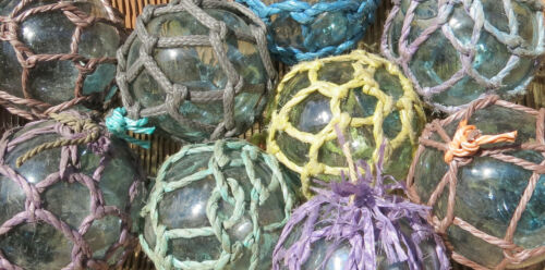 "Japanese Glass Fishing FLOATS 3-3.5"" Netted LOT-9 Net Buoy Authentic Vintage!"