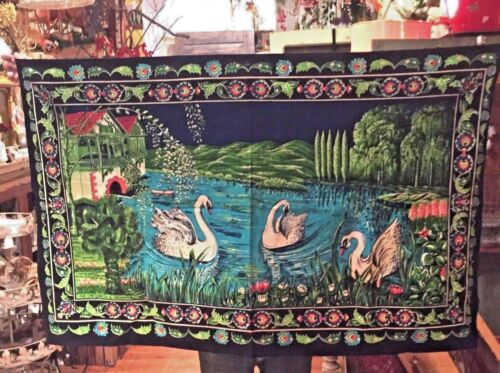 Vtg Swan In Garden House Lake Tapestry Made In Turkey Wall Hanging 100% Cotton