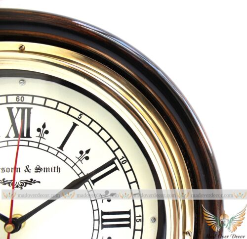 ANTIQUE VINTAGE BRASS 12 HANDCRAFTED WOOD JEFFERSONN & SMITH WALL CLOCK