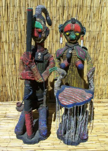 "African Pair of Beaded Yoruba Figures From Nigeria 34"" and 31"" Tall"