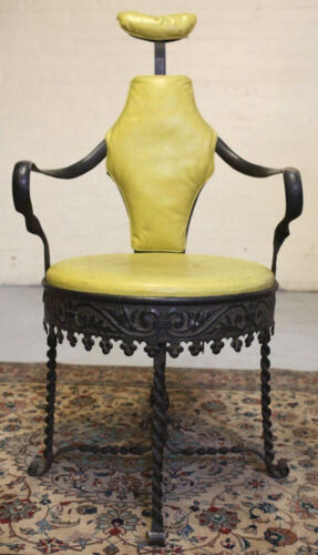 18th - 19th Century Iron dental chair, twist legs, raised foliate design