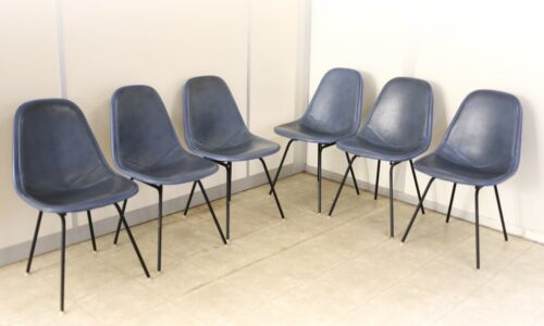 Set of 6 Eames Era Herman Miller Wire Dkx-1 Dowel Legs Chairs Blue Set covers