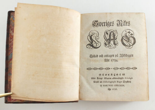 1736 Sweden Rarity Antique Book SWERIGES LAG SWEDISH CIVIL LAW