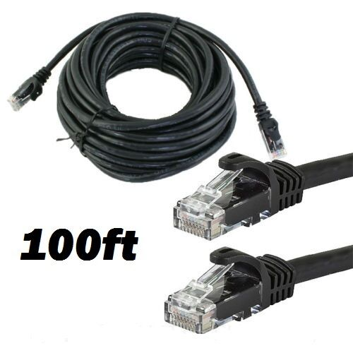 CAT6 100 FT RJ45 Ethernet LAN Network Cable Patch Cord For PC XBox Router BLACK