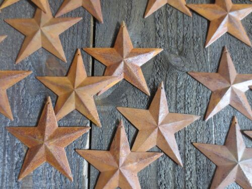 "Lot of 25 Rusty Tin Barn Stars 3.75 inch 3 3/4"" Rusted Primitive Country 3.5 in."