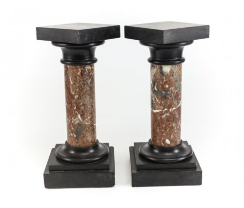 Pair Continental Marble & Black Onyx Tabletop Miniature Pedestals 19th century