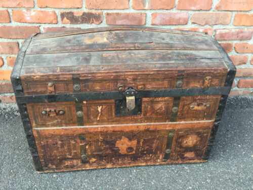 Vtg BEHRMAN & BROS. CAMELBACK TRUNK storage chest steamer train luggage antique