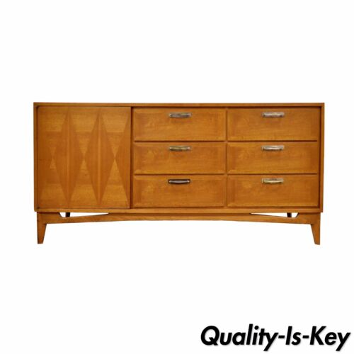 Vintage Mid Century Danish Modern Dresser Credenza Chest Diamond Inlaid Walnut