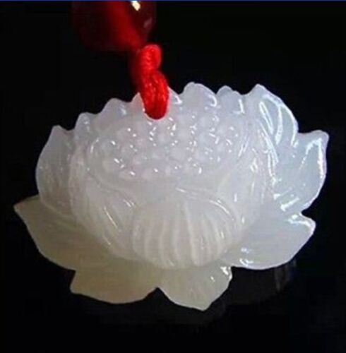 natural hand-carved Chinese  jade pendant - White jade lotus pendant necklace