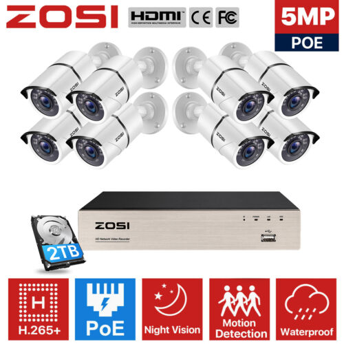 ZOSI H.265 + 8CH 5MP Poe NVR CCTV Security Camera System 1080P Outdoor Home 2TB