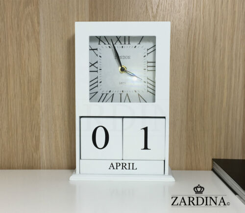 Chester - Vintage Wooden Clock with Perpetual Calendar Blocks
