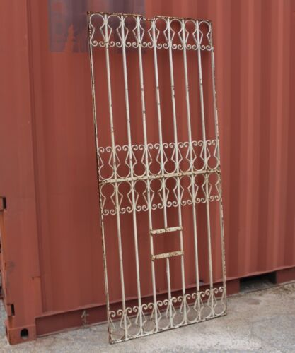 Salvaged White Victorian Wrought Iron Panel/Window//Gate Architectural