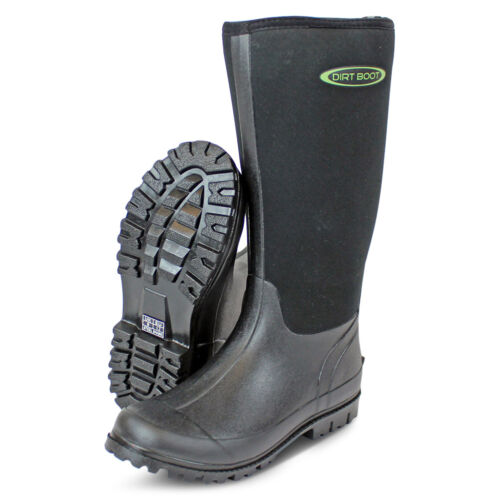 Dirt Boot® Neoprene Wellington Muck Boot Womens Mens Black <br/> Town, County, Country, Festival, Dog, walking, mud