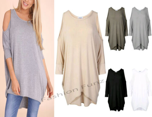 WOMENS LADIES LONG BATWING TOP CUT OUT COLD SHOULDER LOOSE FIT TUNIC DRESS TOP