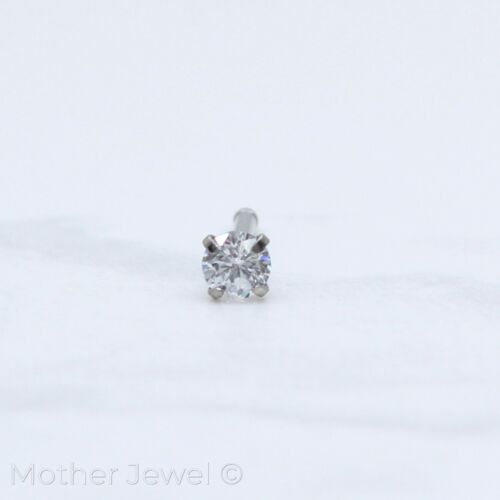 18G SILVER SURGICAL STEEL 3MM ROUND SIMULATED DIAMOND NOSE BALL END STUD BONE