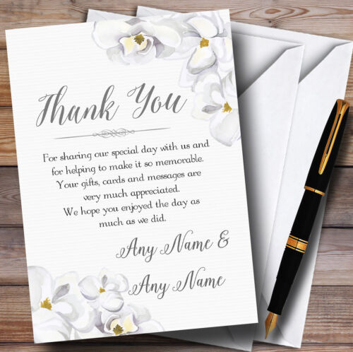 Stunning White Watercolour Magnolias Personalised Wedding Thank You Cards