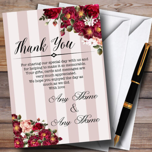 Red Rose & Stripes Vintage Personalised Wedding Thank You Cards