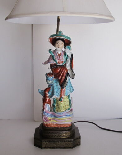 "Antique Chinese Goddess Magu Famille Rose Figural Lamp on Brass Base 30"" tall"