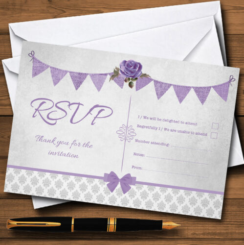 Vintage Rustic Style Bunting Purple & Silver Personalised Rsvp Cards