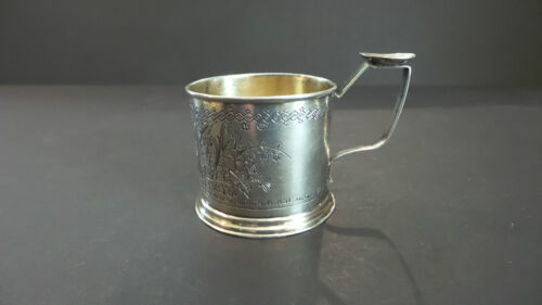 """NICE ANTIQUE RUSSIAN """"84"""" SILVER ENGRAVED CUP / MUG, FLORAL DESIGN, DATED 1933"""