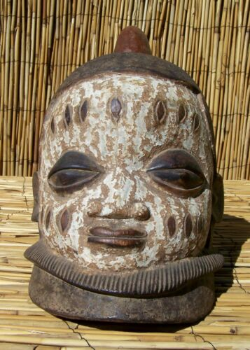 "African Edo or Igbo Helmet Mask from Nigeria 10 1/2"" Tall"