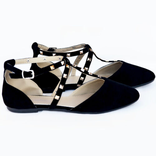 New Women  Criss Cross Studded Pointy Toe Black  Ankle Strap Flats #8889
