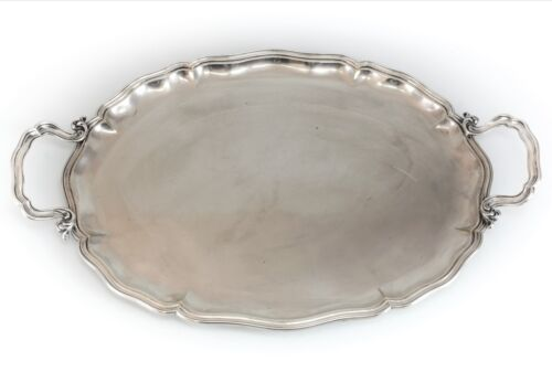 Miracoli & Co. Milano Silverplate on Brass, Serving Tray, Dual handles c1920