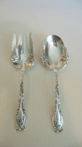 """ANTIQUE FRANK M. WHITING """"JOSEPHINE"""" STERLING SILVER SALAD FORK & SPOON, c. 1895"""