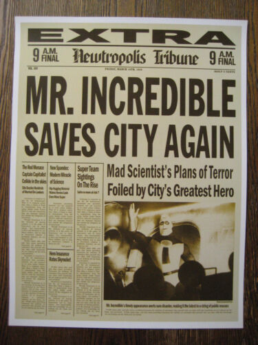 """The Incredibles Newspaper ( 11"""" x 14.5"""" ) - Collector's Poster Print - B2G1F"""