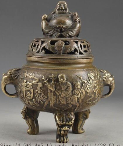 Chinese Old Brass Vintage Hand Hammered Buddha Exorcist Incense Burner AS